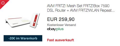 AVM FRITZ! Mesh Set FRITZ!Box 7590 DSL Router + AVM FRITZ!WLAN Repeater 1750E - jetzt 8% billiger