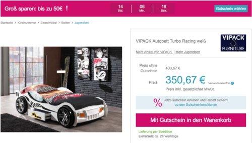 """Babymarkt.de - bis zu 50€ Rabatt auf fast alles: z.B. VIPACK Autobett """"Turbo Racing"""" in Weiß - jetzt 12% billiger"""