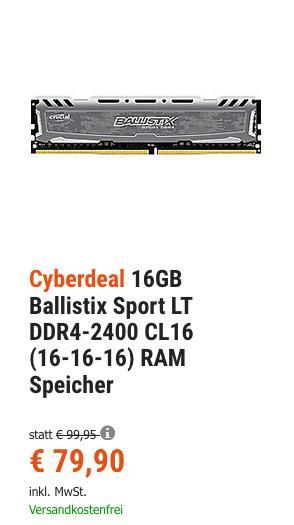 Ballistix Sport LT DDR4-2400 CL16 (16-16-16) 16GB RAM Speicher, 1 Stück - jetzt 5% billiger