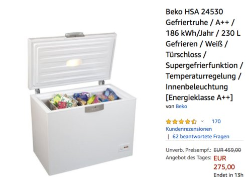 Beko HSA 24530 Gefriertruhe 230 Liter, A++ - jetzt 5% billiger