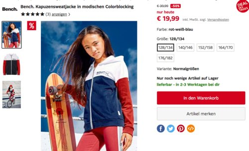 Bench. Mädchen Kapuzensweatjacke in modischen Colorblocking (128-182) - jetzt 14% billiger