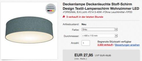 B.K.Licht Deckenleuchte im Stoff-Schirm Design, 3-flammig, grau - jetzt 13% billiger