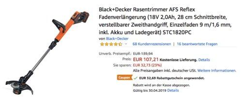 Black+Decker STC1820PC 18V 2.0 Ah Akku-Rasentrimmer inkl. Akku und Ladegerät - jetzt 30% billiger