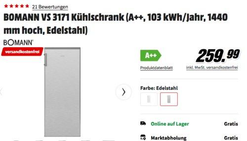 Bomann VS 3171 Kühlschrank Edelstahl-Optik, 144 cm hoch, A++ - jetzt 13% billiger