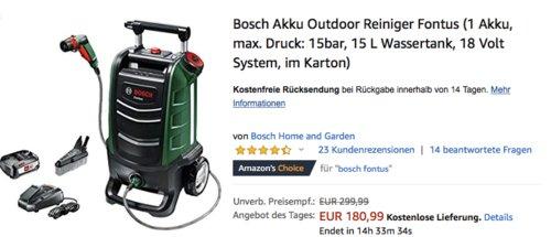 """Bosch 18 Volt Akku-Reinigungsgerät """"Fontus"""" inkl. 2,5 Ah Akku - jetzt 26% billiger"""