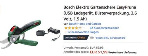 """Bosch Akku-Gartenschere """"EasyPrune"""" für Äste bis 25 mm - jetzt 16% billiger"""
