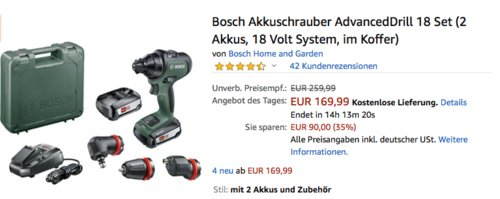 Bosch Akkuschrauber AdvancedDrill 18 Set (inkl. 2 Akkus und Koffer) - jetzt 22% billiger