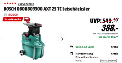 BOSCH AXT 25 TC Leisehäcksler, max. Schneidekapazität-Ø 45 mm - jetzt 3% billiger