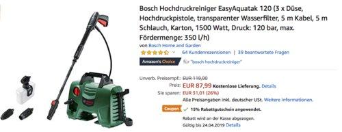 Bosch Hochdruckreiniger EasyAquatak 120 (2. Generation) inkl. Zubehör, 120 bar, max. Fördermenge: 350 l/h - jetzt 15% billiger