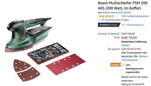 Bosch Multischleifer PSM 200 AES im Koffer - jetzt 15% billiger