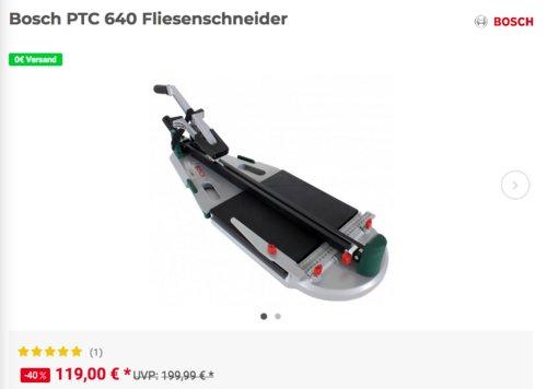 Bosch PTC 640 Fliesenschneider, max. 64 cm Schnittlänge - jetzt 16% billiger