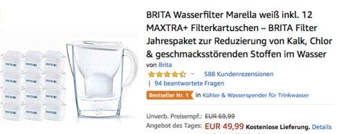 BRITA Wasserfilter Marella weiß inkl. 12 MAXTRA+ Filterkartuschen - jetzt 15% billiger
