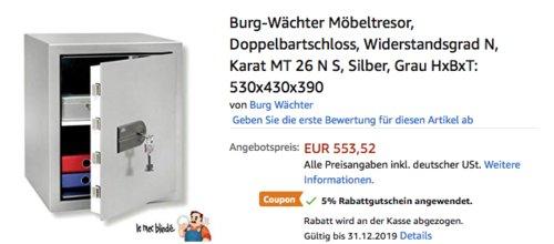 """Burg Wächter Möbeltresor """"Karat MT 26 N S"""", 530x430x390 mm - jetzt 24% billiger"""