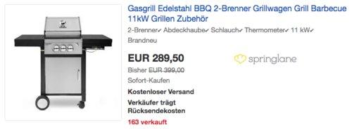 "BURNHARD 2-Brenner Gasgrill ""Barney Deluxe"", 11 kW - jetzt 27% billiger"