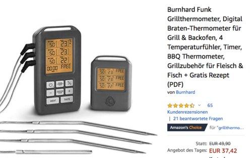 Burnhard Funk-Grillthermometer mit 4 Temperaturfühler - jetzt 25% billiger