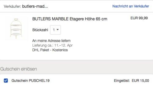 BUTLERS MARBLE Marmor Etagere, 65 cm hoch - jetzt 15% billiger
