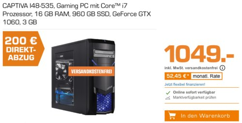 CAPTIVA I48-535 Gaming PC (i7-8700 Prozessor, 16 GB RAM, 960 GB SSD, GeForce GTX 1060 3 GB) - jetzt 13% billiger