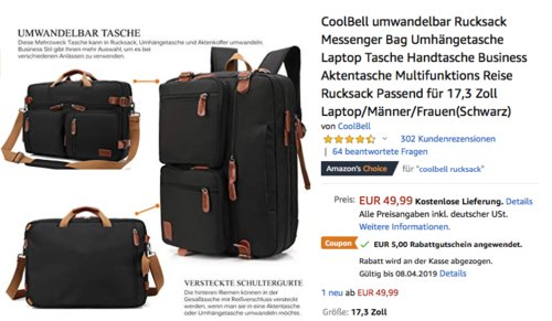 CoolBell 17,3 Zoll umwandelbar Rucksack in Schwarz (PN32018) - jetzt 36% billiger