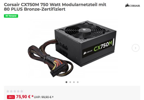 Corsair CX750M 750 Watt  PC-Netzteil (Modularnetzteil mit 80 PLUS Bronze-Zertifiziert ) - jetzt 10% billiger