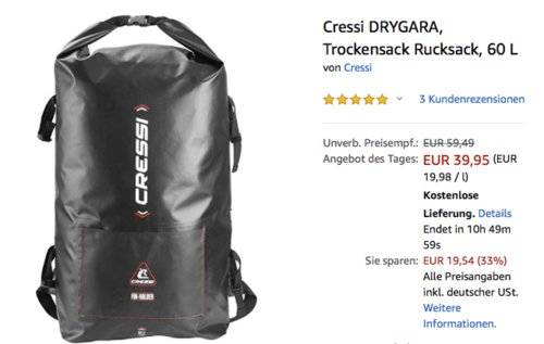 Cressi DRYGARA Trockensack, 60 L - jetzt 25% billiger