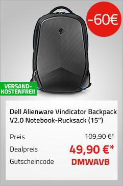 """Dell Alienware Vindicator Backpack V2.0 (460-BCBV),  Notebook-Rucksack (15"""") 38.1 cm - jetzt 55% billiger"""