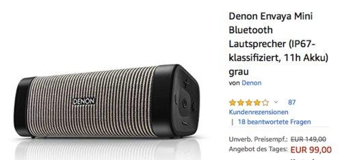 Denon Envaya Mini Bluetooth Lautsprecher (IP67, 11h Akku), grau - jetzt 33% billiger