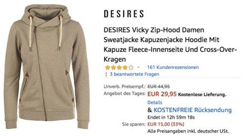 DESIRES Vicky Zip-Hood Damen Sweatjacke/Kapuzenjacke in versch. Farben und Größen - jetzt 14% billiger