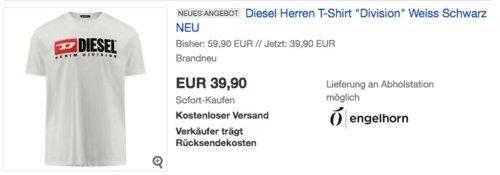 """Diesel Herren T-Shirt """"Division"""" in Weiss oder Schwarz - jetzt 9% billiger"""