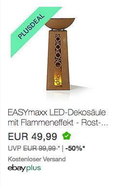 EASYmaxx LED-Dekosäule mit Flammeneffekt - Rost-Optik - 69 cm - jetzt 10% billiger