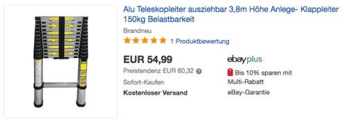Eaxus Alu-Teleskopleiter 3,8 Meter, max. 150kg Belastbarkeit - jetzt 31% billiger
