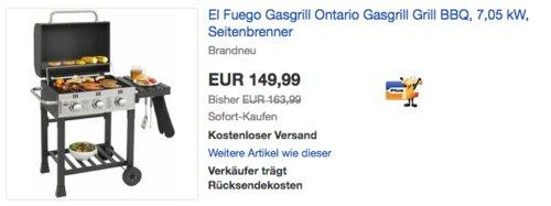 """El Fuego AY 539 Gasgrill """"Ontario"""", 7,05 kW - jetzt 9% billiger"""