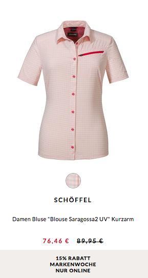 """Engelhorn - 15% Rabatt Markenwoche: z.B. Schöffel Damen Bluse """"Blouse Saragossa2 UV"""" Rose - jetzt 15% billiger"""