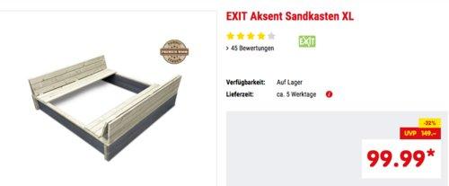 """EXIT Holz-Sandkasten """"Aksent XL"""", natur/grau, 136x132cm - jetzt 20% billiger"""