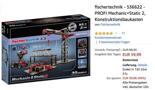 fischertechnik - 536622 - PROFI Mechanic+Static 2, Konstruktionsbaukasten - jetzt 28% billiger