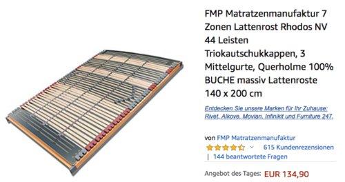 "FMP Matratzenmanufaktur 7 Zonen Lattenrost ""Rhodos NV"" 140x200 cm - jetzt 9% billiger"