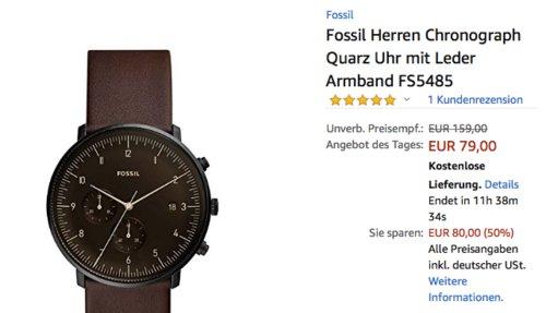Fossil FS5485 Herren Chronograph mit Lederarmband - jetzt 50% billiger