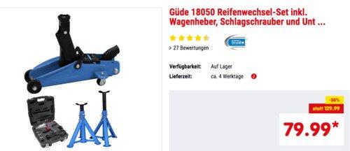Güde 18050 Reifenwechsel-Set inkl. Wagenheber, Schlagschrauber und 2 x Unterstellböcke - jetzt 8% billiger