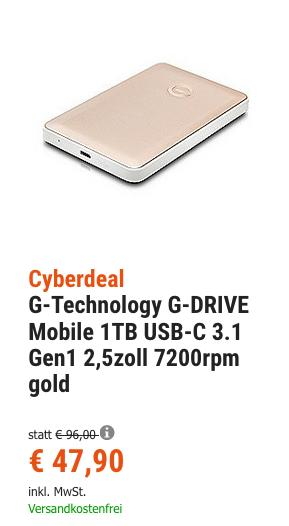 G-Technology G-DRIVE Mobile 1TB USB-C 3.1 2,5 Zoll externe Festplatte, gold - jetzt 32% billiger
