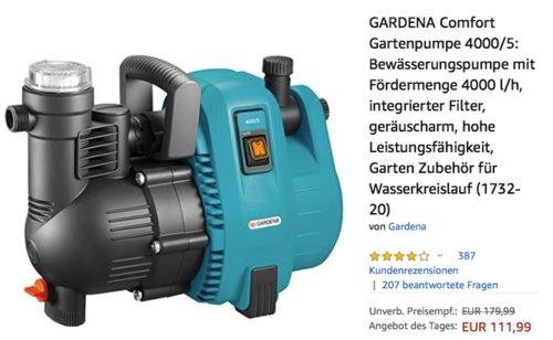 GARDENA Comfort Gartenpumpe 4000/5, Bewässerungspumpe mit Fördermenge 4000 l/h - jetzt 25% billiger