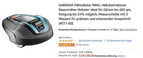 GARDENA Mähroboter R40Li für Gärten bis 400 qm - jetzt 14% billiger