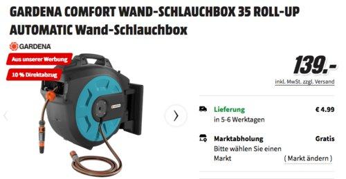 """GARDENA Wand-Schlauchbox 35 roll-up automatic, inkl.  35 m GARDENA Qualitätsschlauch 13 mm (1/2"""") - jetzt 7% billiger"""