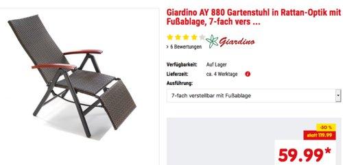 Giardino AY 880 Gartenstuhl in Rattan-Optik mit Fußablage, 7-fach verstellbar - jetzt 33% billiger