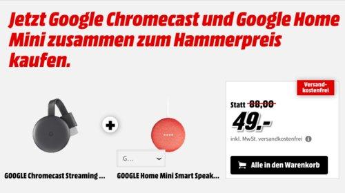 Google Home Mini Smart Speaker inkl. GOOGLE Chromecast Streaming Player, 3. Generation - jetzt 44% billiger