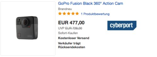 GoPro Fusion Black 360° Actioncam - jetzt 13% billiger
