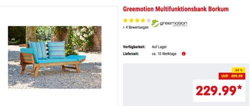 """Greemotion Multifunktionsbank """"Borkum""""akazie/blau, flexibel als Sitzbank oder Sonnenliege nutzbar - jetzt 3% billiger"""