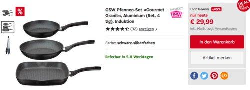 """GSW Pfannen-Set """"Gourmet Granit"""", 4-teilig - jetzt 22% billiger"""