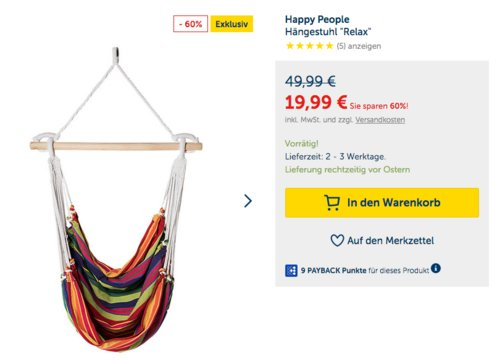 """Happy People Hängestuhl """"Relax"""" für Kinder - jetzt 12% billiger"""
