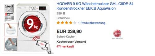 HOOVER GHL C9DE-84 Wäschetrockner, 9KG, EEK: B - jetzt 13% billiger