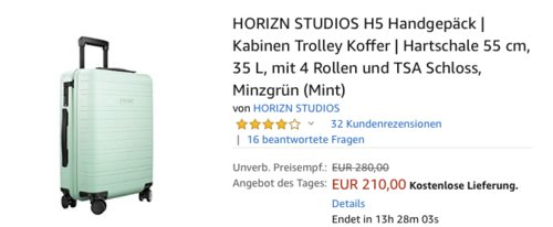 HORIZN STUDIOS H5 Handgepäck 35 L, mint - jetzt 12% billiger