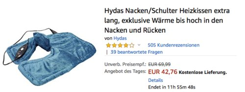 Hydas Nacken/Schulter Heizkissen extra lang, 4 Temperaturstufen - jetzt 16% billiger